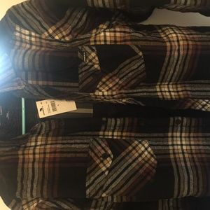 o'neill hueneme sherpa-lined  plaid flannel shirt
